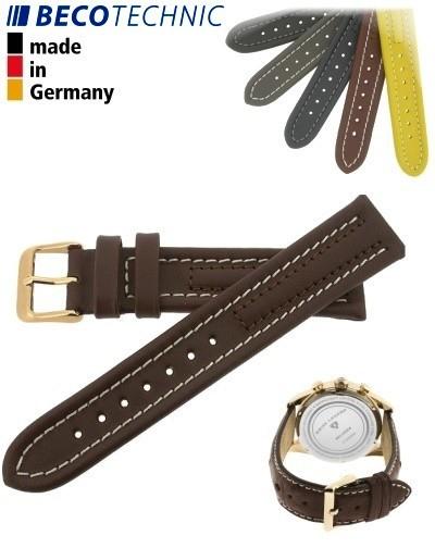 Bracelet de montre Arizona 24mm marron / plaqué or