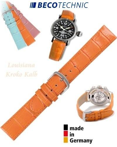 Bracelet de montre cuir LUISIANA croco orange 14mm
