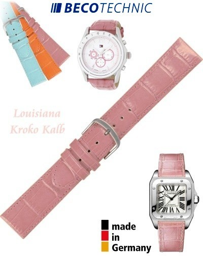 Bracelet de montre cuir LUISIANA croco rose 14mm