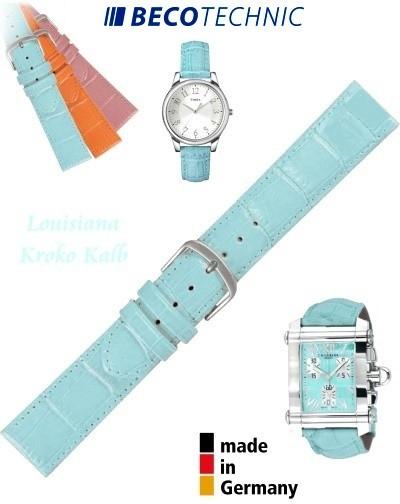 Bracelet de montre cuir LUISIANA croco turquoise 14mm