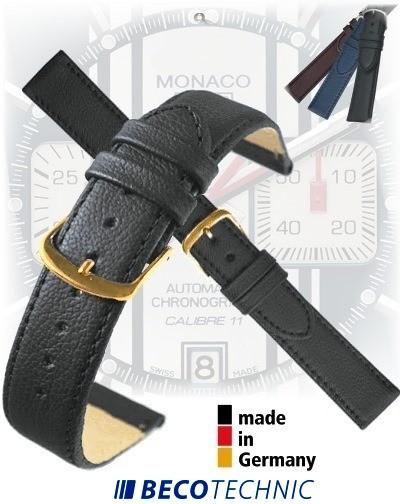 Bracelet montre en cuir BLACK NAPPA 14mm plaqué or