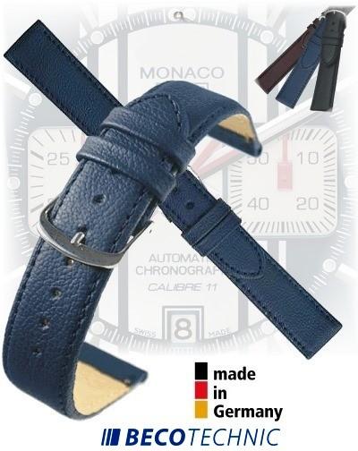 Bracelet montre en cuir NAPPA bleu foncé 24mm Inox