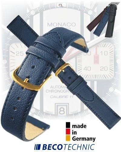 Bracelet montre en cuir NAPPA bleu foncé 24 plaqué or