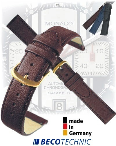 Bracelet montre en cuir NAPPA brun 24mm plaqué or