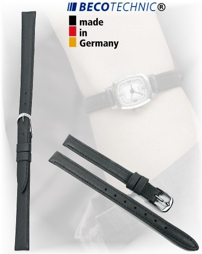 Beco Technic POLO S bracelet de montre en cuir noir de 10mm