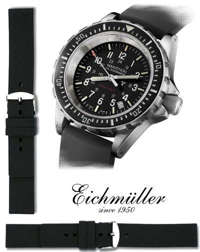 Bracelet silicone PLONGEUR noir 18mm